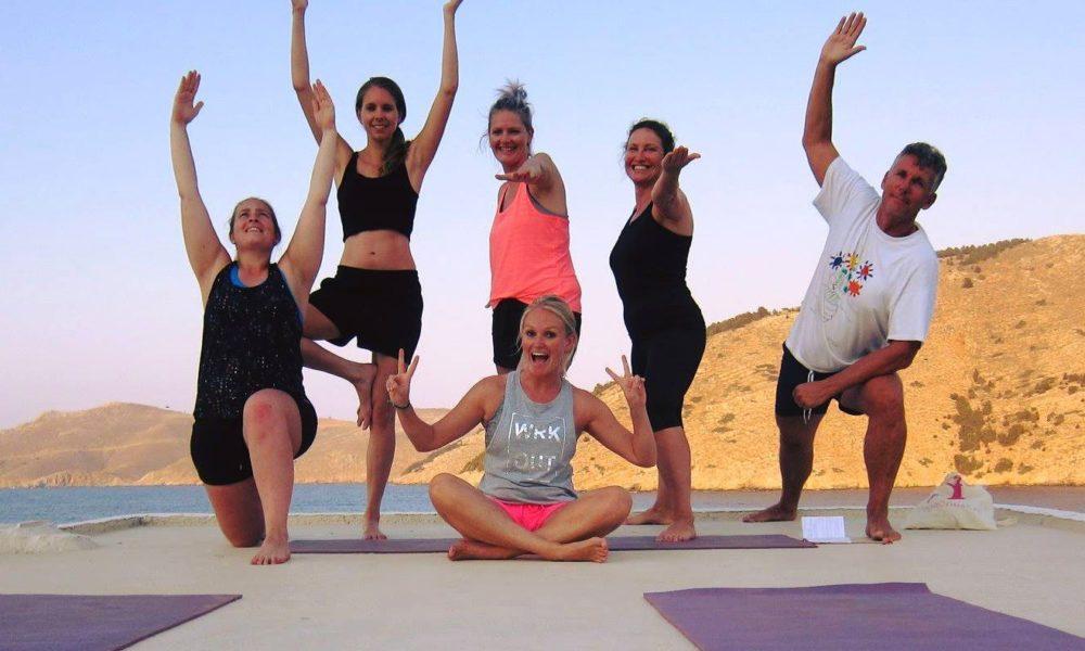 Happy yoga people